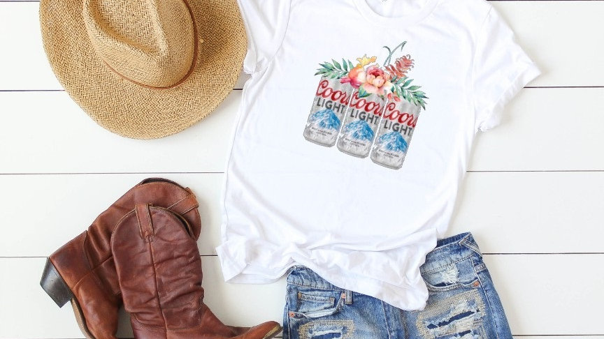 Floral Beer Cans - Coors Light Tee