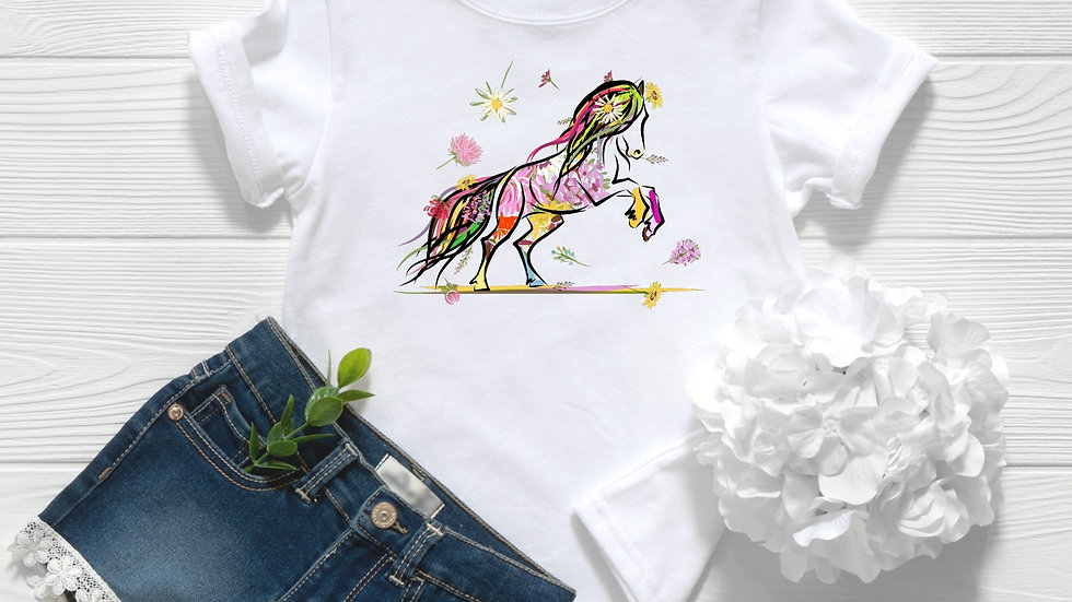 Flower Horse Toddler and Youth Tee