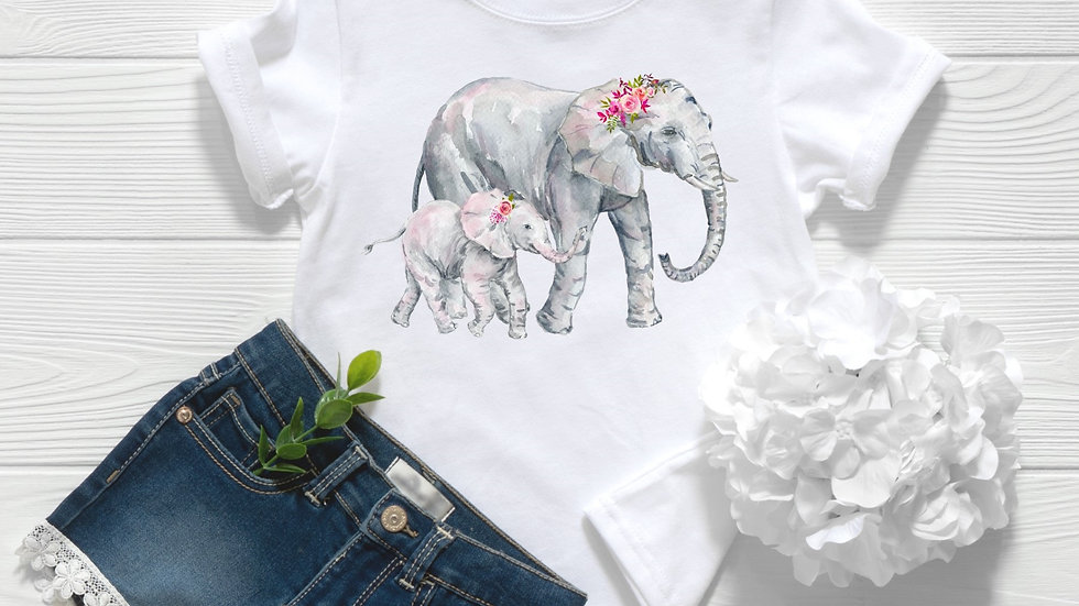 Floral Elephant Toddler and Youth Tee