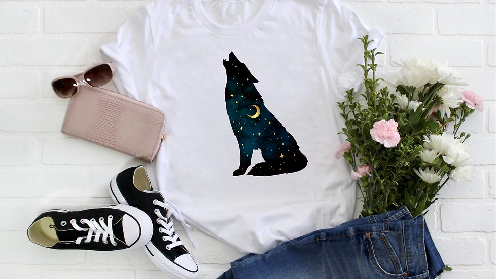 Starry Night Howling Wolf Tee