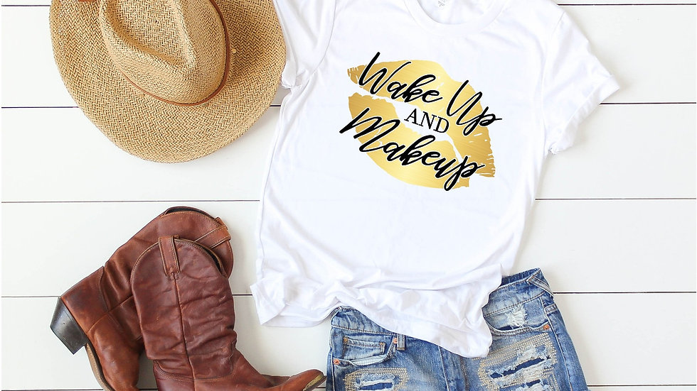 Wake Up and Makeup Gold Lips Tee