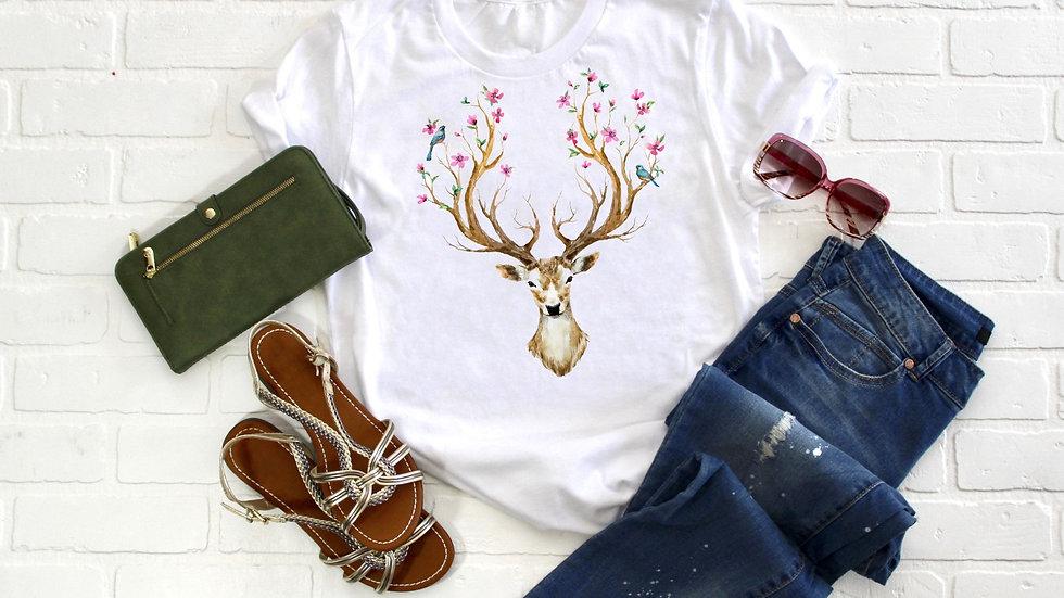 Floral Deer Tee