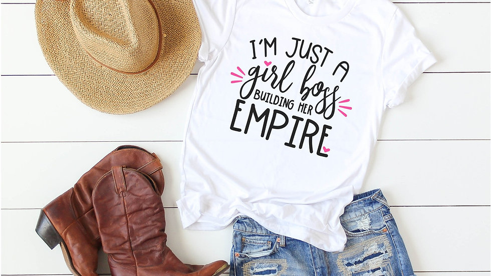 I'm Just a Girl Boss Building Her Empire Tee - Pink