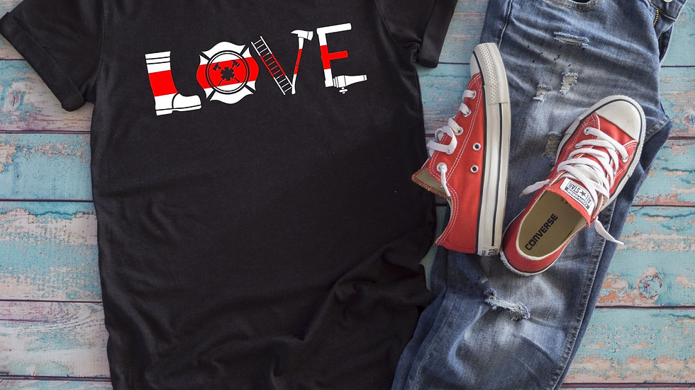 Thin Red Line Firefighter Love Tee