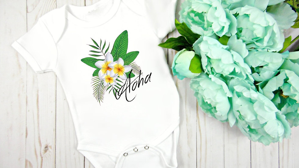 Aloha Plumeria Baby Bodysuit
