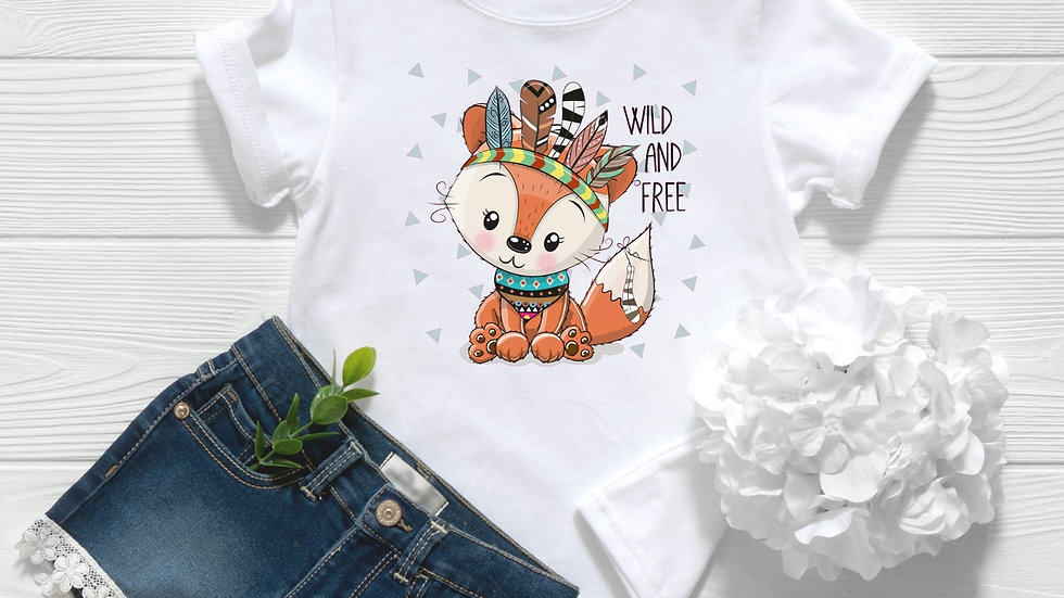 Wild and Free Woodland Baby Fox Toddler and Youth Tee