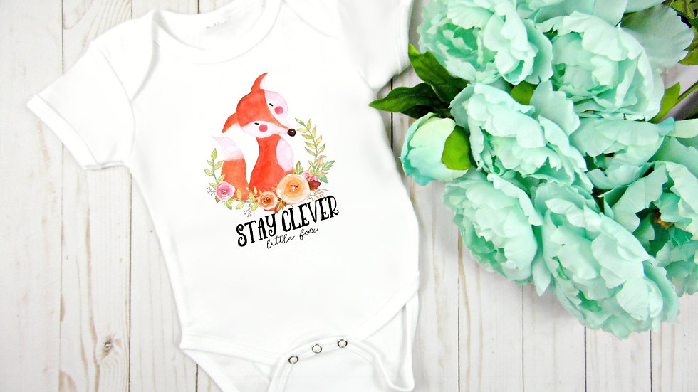 Woodland Stay Clever Little Fox Baby Bodysuit