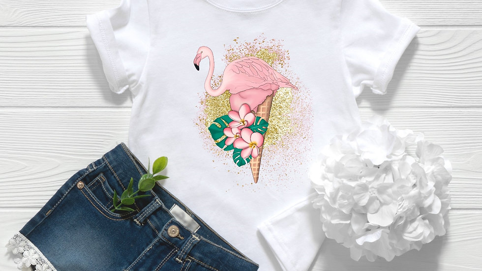 Ice Cream Flamingo Toddler and Youth Tee