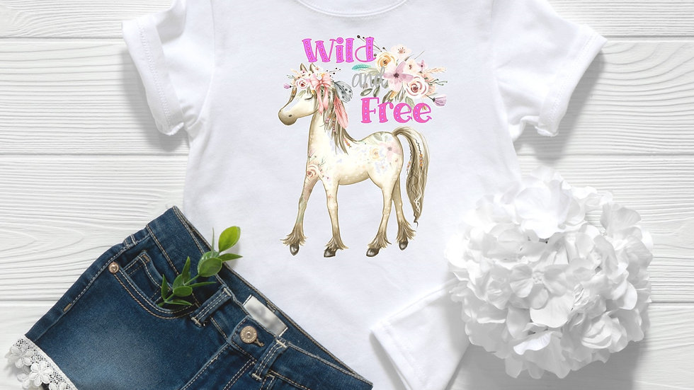 Wild and Free Floral Pony Toddler and Youth Tee