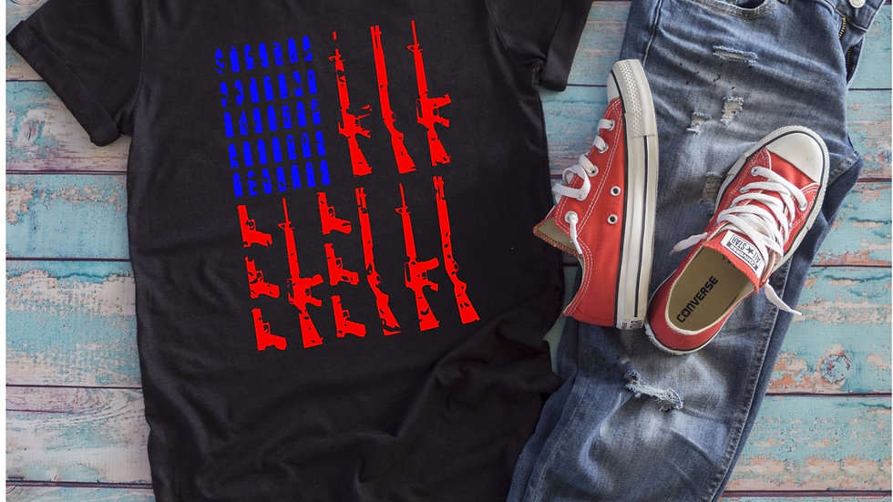 Distressed Gun Flag Tee