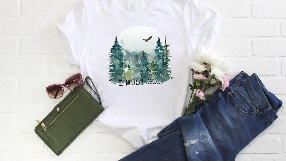 I Must Go Watercolor Trees Tee