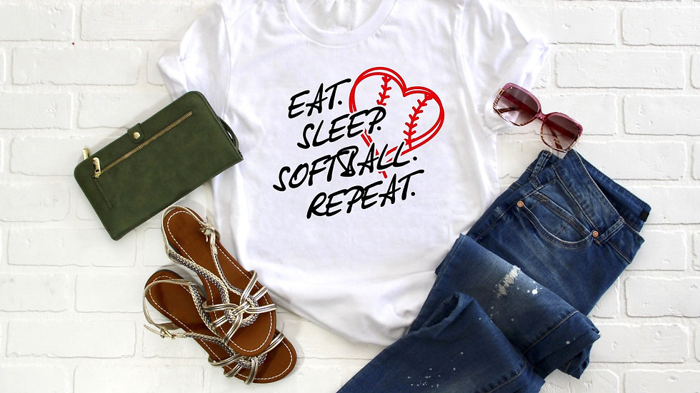 Eat Sleep Softball Repeat Tee