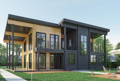 Дом из клеяного бруса 3D-визуализа
