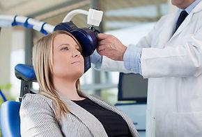 Patient receving TMS - Transcranial Magnetic Stimulation
