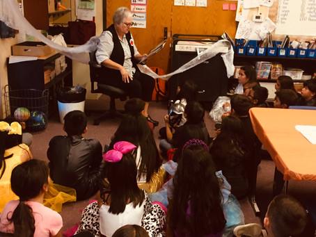 Friend Rebecca Salinas Reads at Calaveras Elementary for Halloween