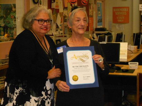 Ruth Erickson Recognized by Ana Caballero's Office as an Outstanding Volunteer