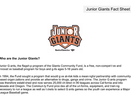 Junior Giants Information