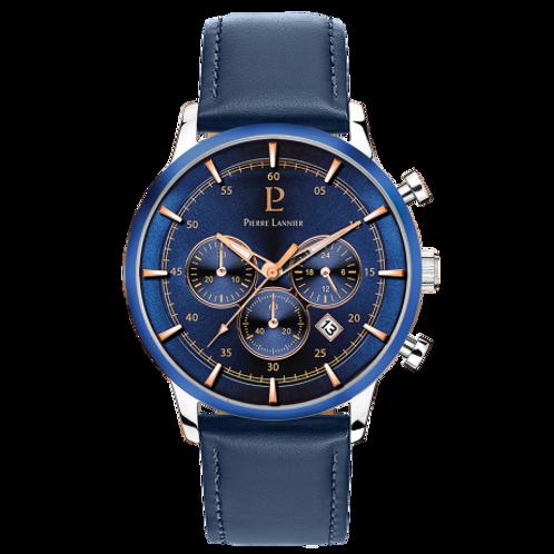Pierre Lannier Montre Capital cuir bleu