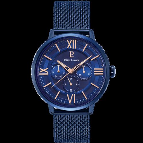 Pierre Lannier Montre Beaucour acier milanais bleu