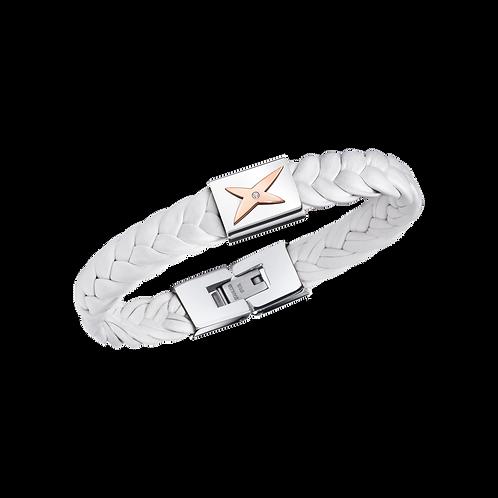 Bracelet Mec J'te Kiff Cuir Blanc