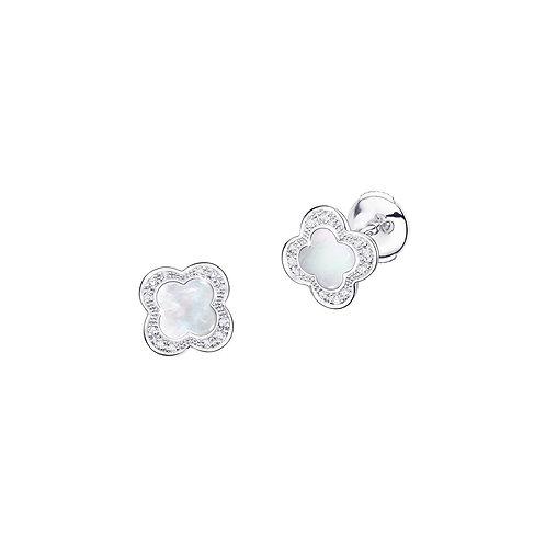 Boucle d'oreilles Trèfle de Toi Nacre et diamants
