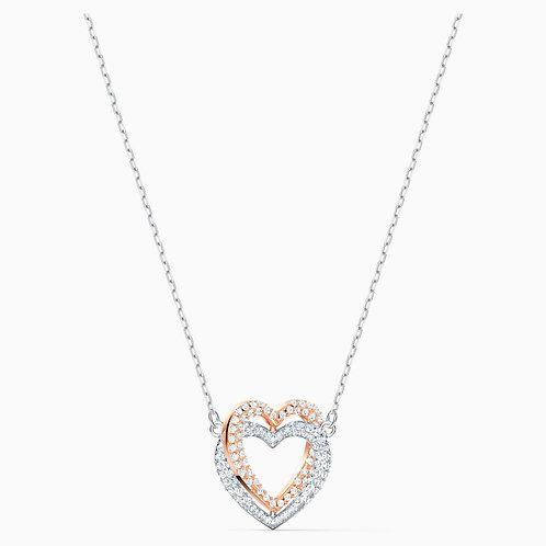 Collier Swarovski Infinity Double Heart, blanc