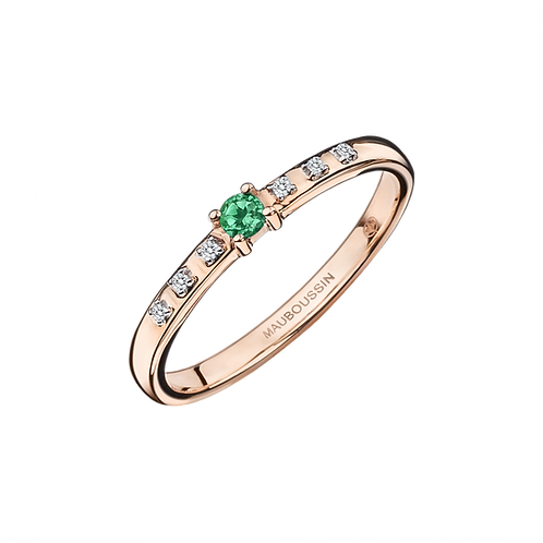 Bague Capsule d'Emotions Or Rose Emeraude