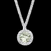 Collier Soleil d'Eté or gris, diamants et Amethyste verte