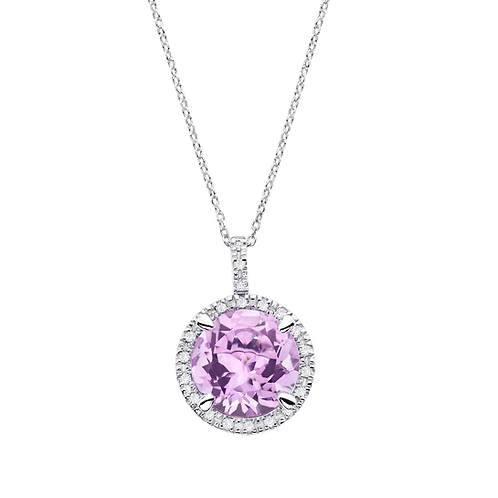 Collier Soleil d'Été Améthyste violette et diamants