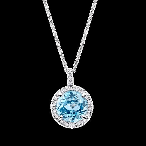 Collier Soleil d'Été topaze bleu et diamants