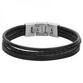 Bracelet Phebus acier et cuir marron