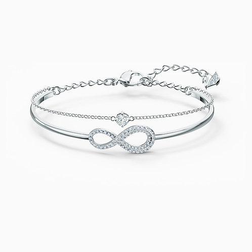 Bracelet-jonc Swarovski Infinity, blanc, métal rhodi