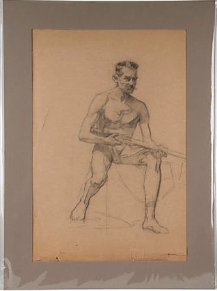 Man w/ Gun Charcoal Drawing