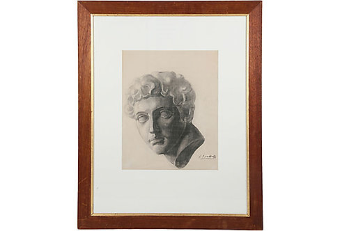 Large Framed Charcoal Sketch, Roman Bust