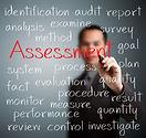 business man writing assessment concept.