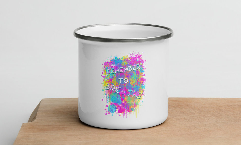 Remember To Breathe splatter enamel mug