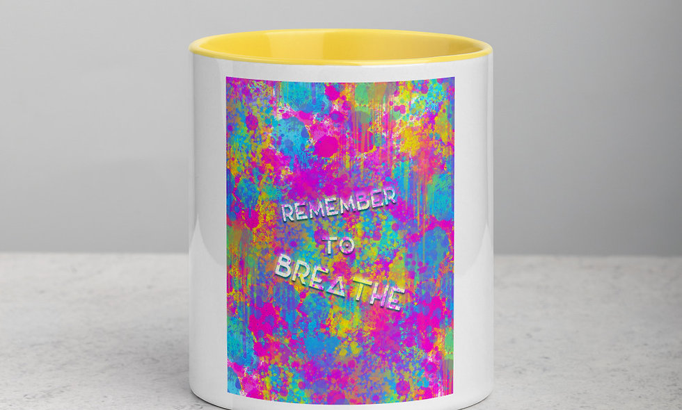 Remember To Breathe mug with color inside