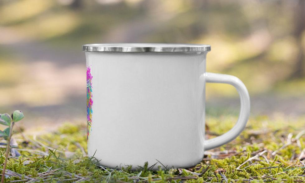Remember To Breathe splatter enamel mug