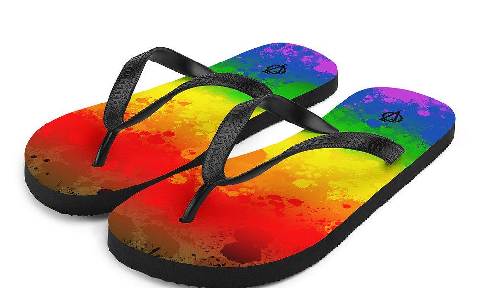 LGBTQIA Splatter Flip-Flops