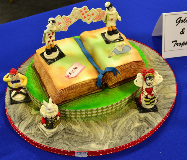 Best Sugarpaste Exhibit in Competition G T Culpitt Trophy was awarded to Jacqui Kelly Tunbridge Wells Branch for her Pop Up Book.