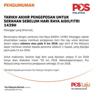 Notice from Pos Laju Malaysia