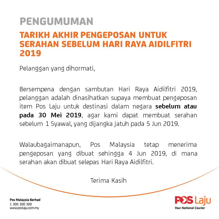 Announcement By Pos Laju Malaysia