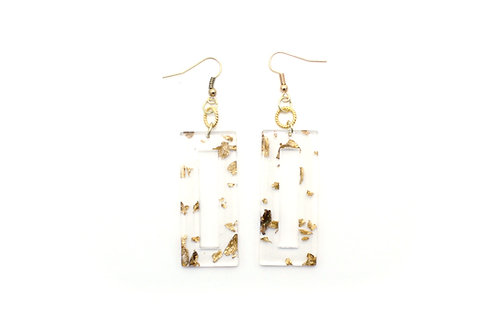 Gold and Clear Rectangle Earring