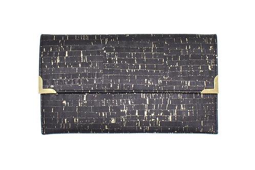 Black and Gold Cork Folio Clutch
