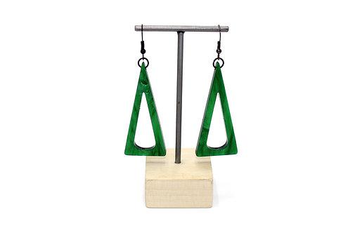 Black & Green Triangle Earrings