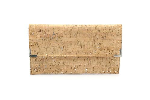 Cork Dash Silver Folio Clutch