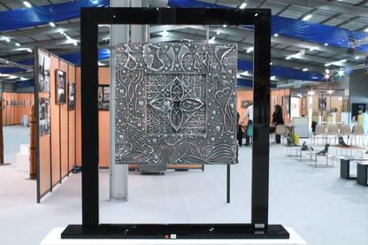"""Les Femmes de Locronan"" Extra-fine aluminium panel Suspended on a black Altuglas frame 60x56cm"