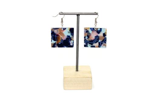 Multi-colored Square Earring