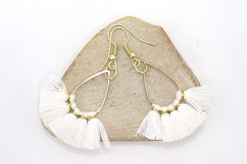 White Teardrop Fan Earrings