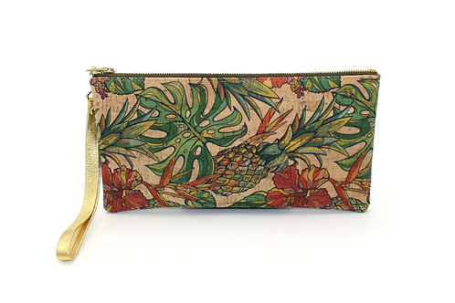 Pineapple Cork Wristlet with Gold Strap